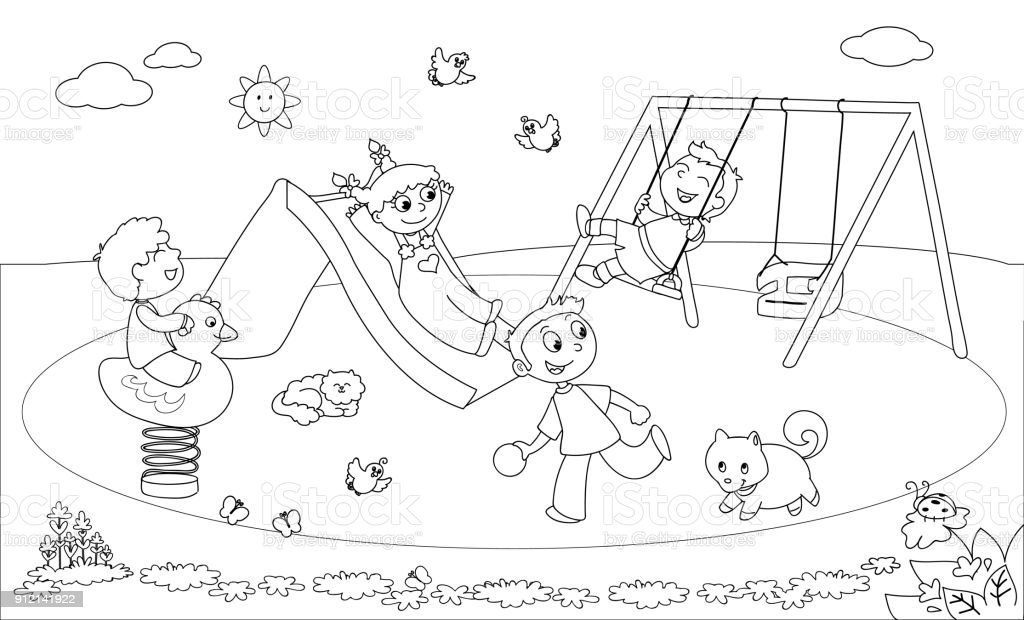 Kids Playing At The Playground Coloring Vector Stock