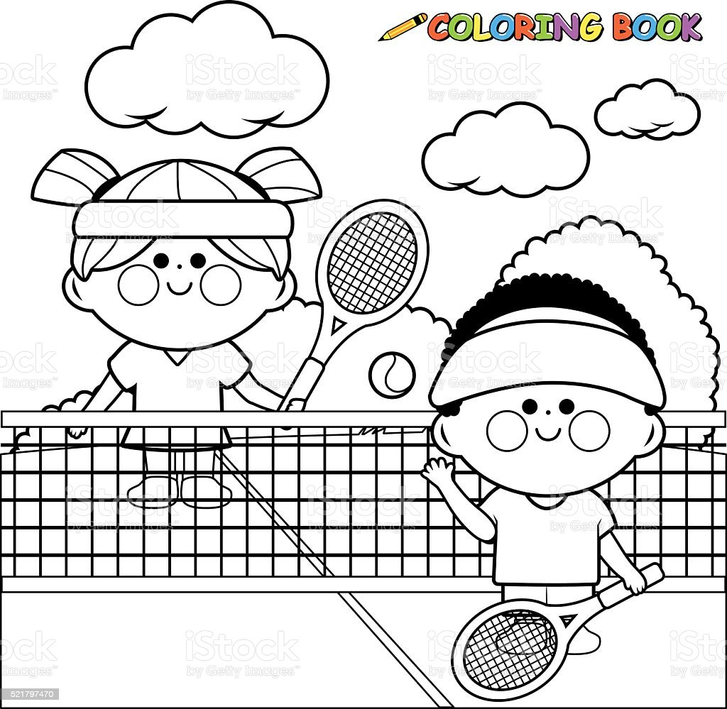 Kids Playing Tennis At Tennis Court Coloring Book Page