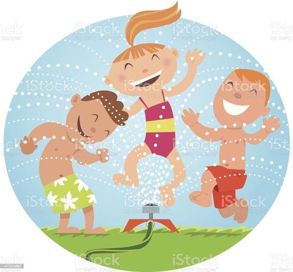 kids sprinkler stock vector art