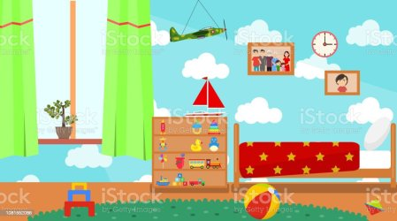 Kindergarten Room Empty Playschool Room With Toys And Furniture Cartoon Kids Bedroom Interior Home Childrens Room With Kid Bed And Child Toys Vector Illustration Stock Illustration Download Image Now iStock