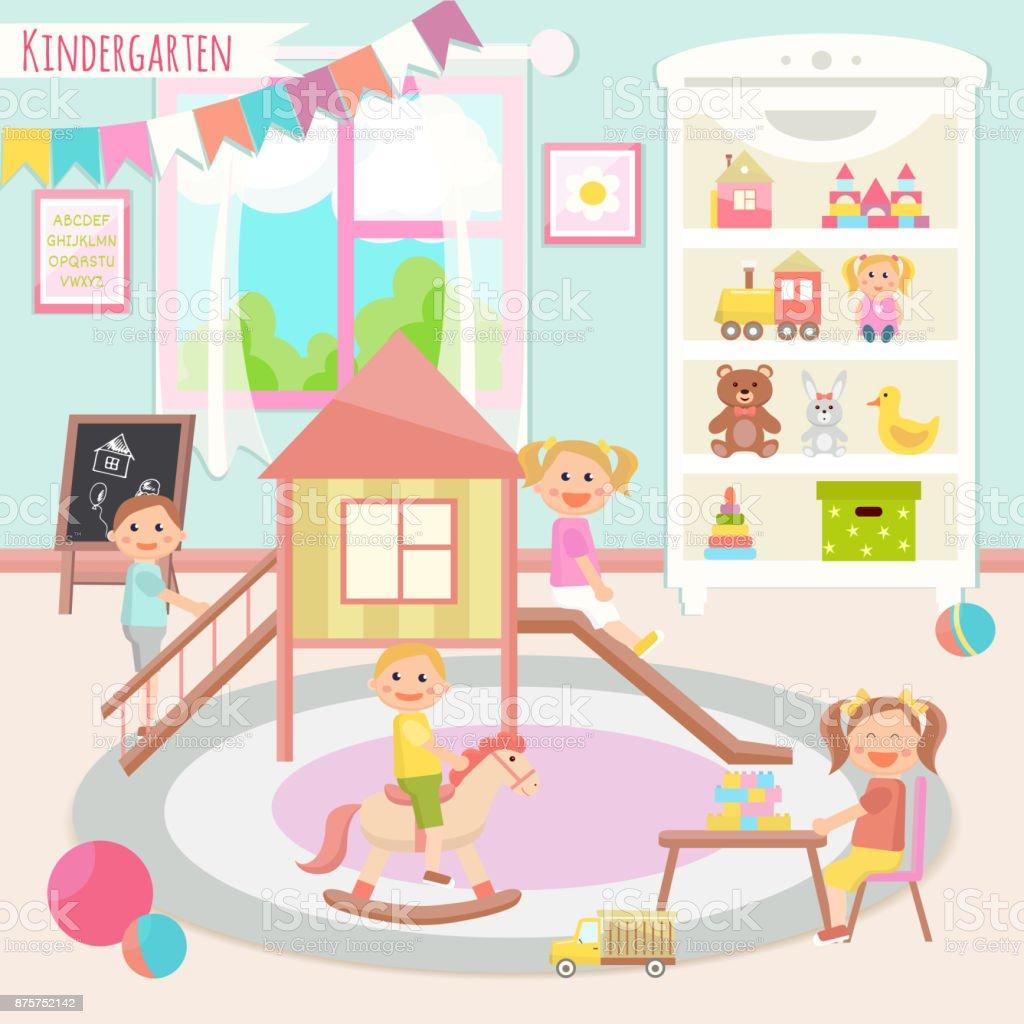 幼稚園向量例證孩子們在遊戲室的活動玩耍 教育 向量插圖及更多 住宅房間 圖片 | iStock