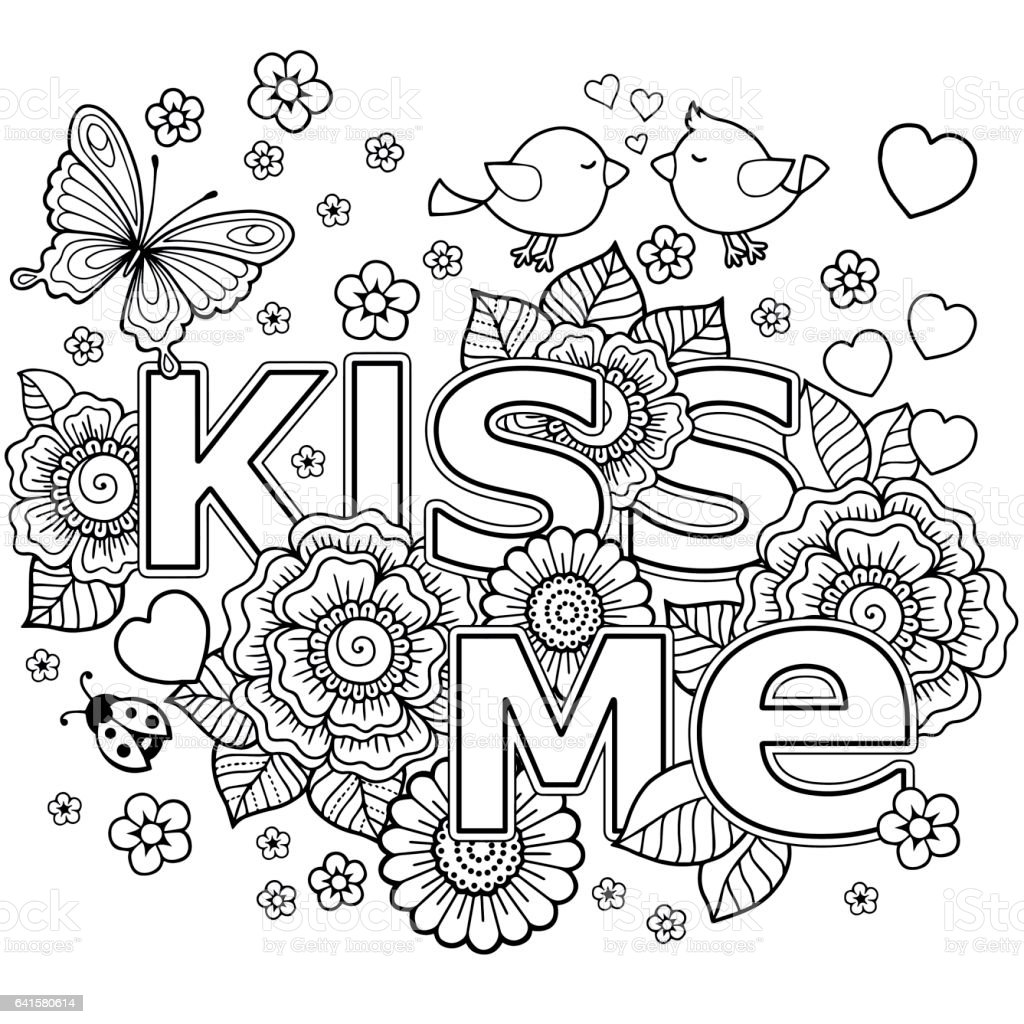 Kiss Me Vector Abstract Coloring Book For Adult Design For