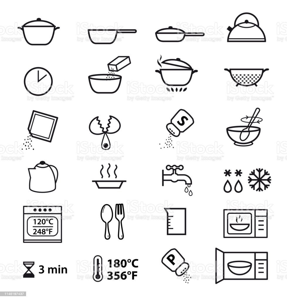 Kitchen Icons For Cooking Instructions Stock Illustration