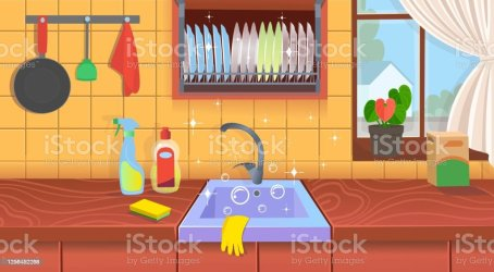 Kitchen Sink With Clean Dishesclean Kitchen A Concept For Cleaning Companiesflat Cartoon Vector Illustration Stock Illustration Download Image Now iStock
