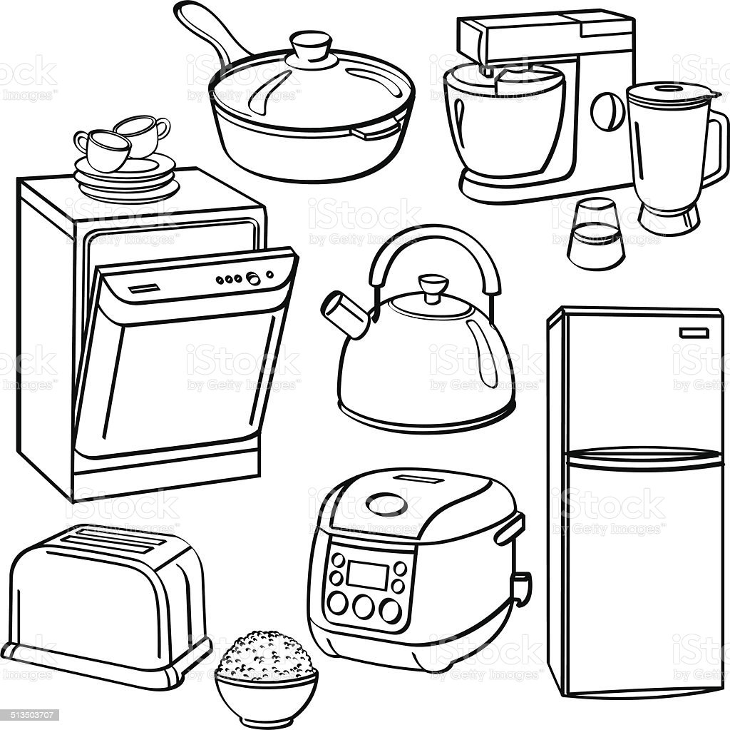 Kitchen Utensils And Appliances Stock Vector Art & More