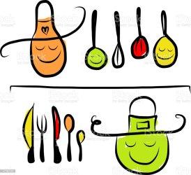 Ilustración de Utensilios De Cocina En Los Estantes
