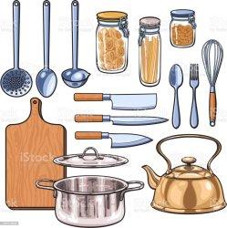 kitchen utensils cocina utensilios sketch dibujo vector equipment imagenes utensil fork dinner