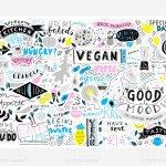 Kitchen Wall Art Vegan Restaurant Cafe Home Decor Menu Elements Food Doodle Lettering Stock Illustration Download Image Now Istock