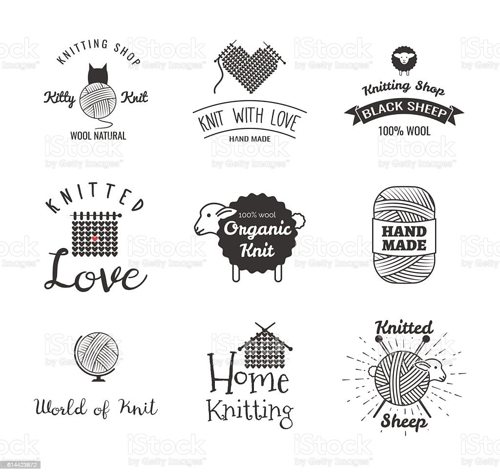Knitting Label Set Hand Knit World Of Knit Black Stock