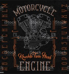 knuckle twin head motorcycle engine typeface illustration  [ 1000 x 1000 Pixel ]