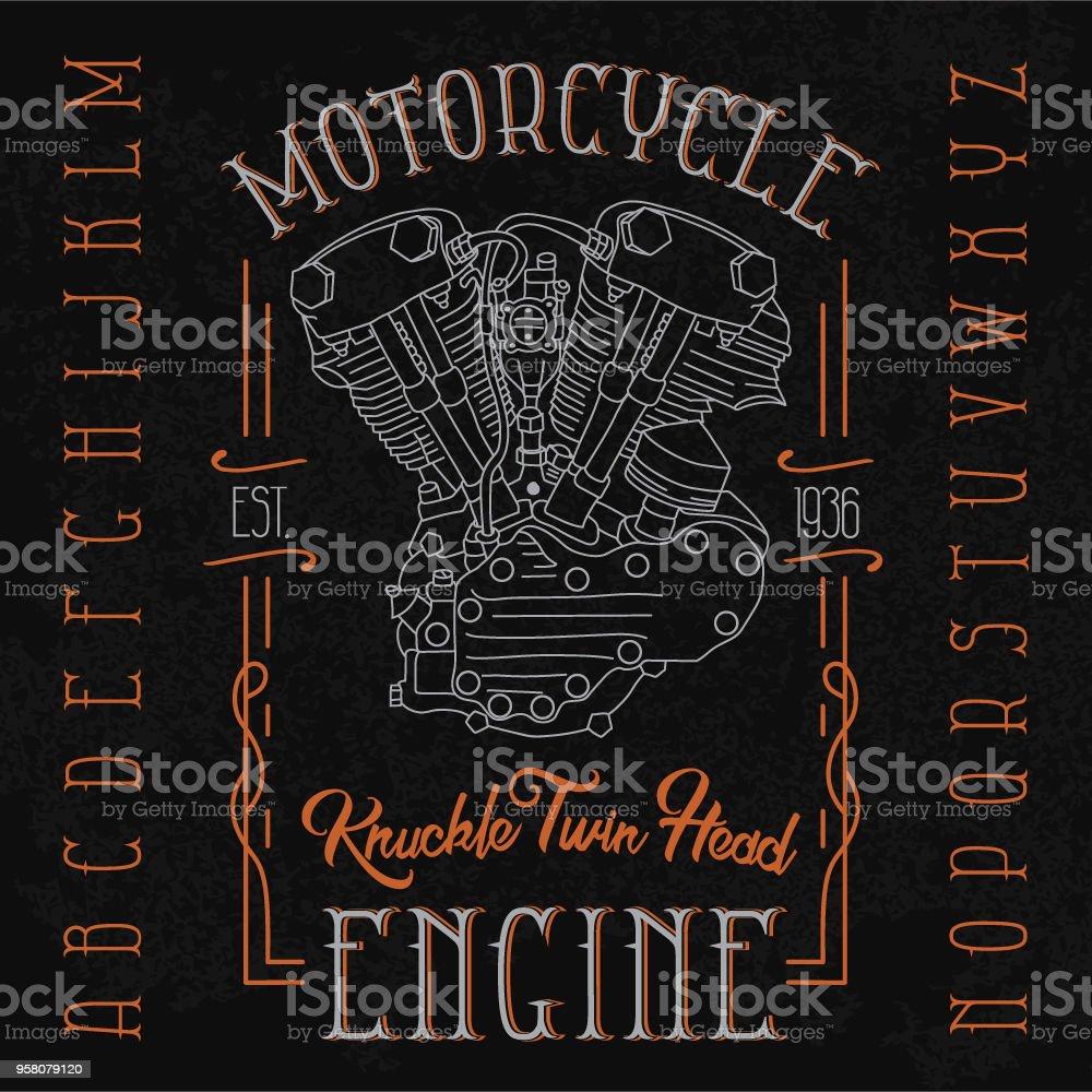 medium resolution of knuckle twin head motorcycle engine typeface illustration