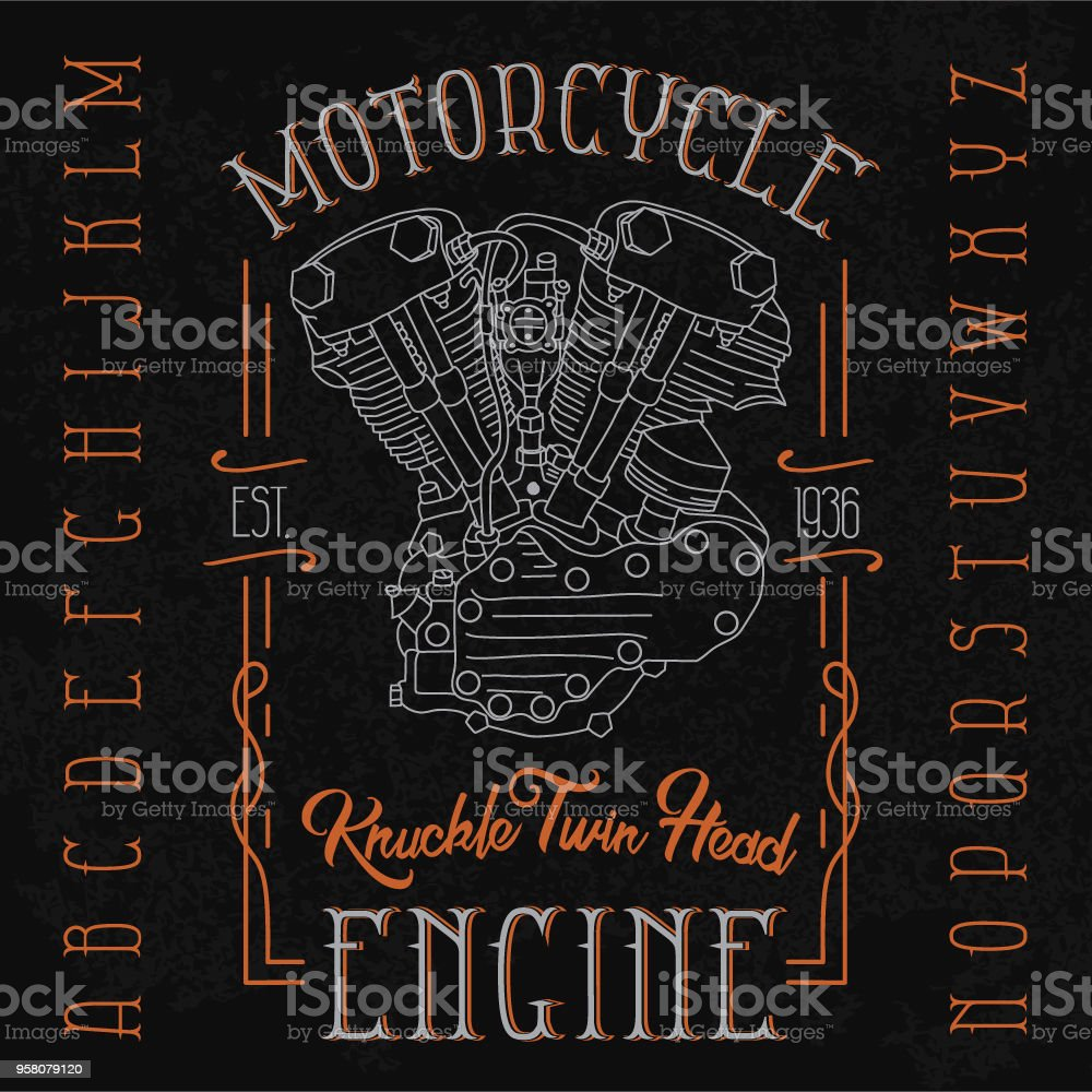 hight resolution of knuckle twin head motorcycle engine typeface illustration