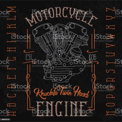 small resolution of knuckle twin head motorcycle engine typeface illustration