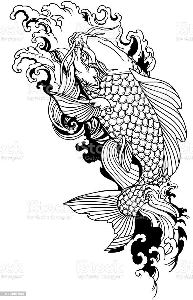 Koi Swimming Upstream : swimming, upstream, Swimming, Upstream, Black, White, Tattoo, Stock, Illustration, Download, Image, IStock