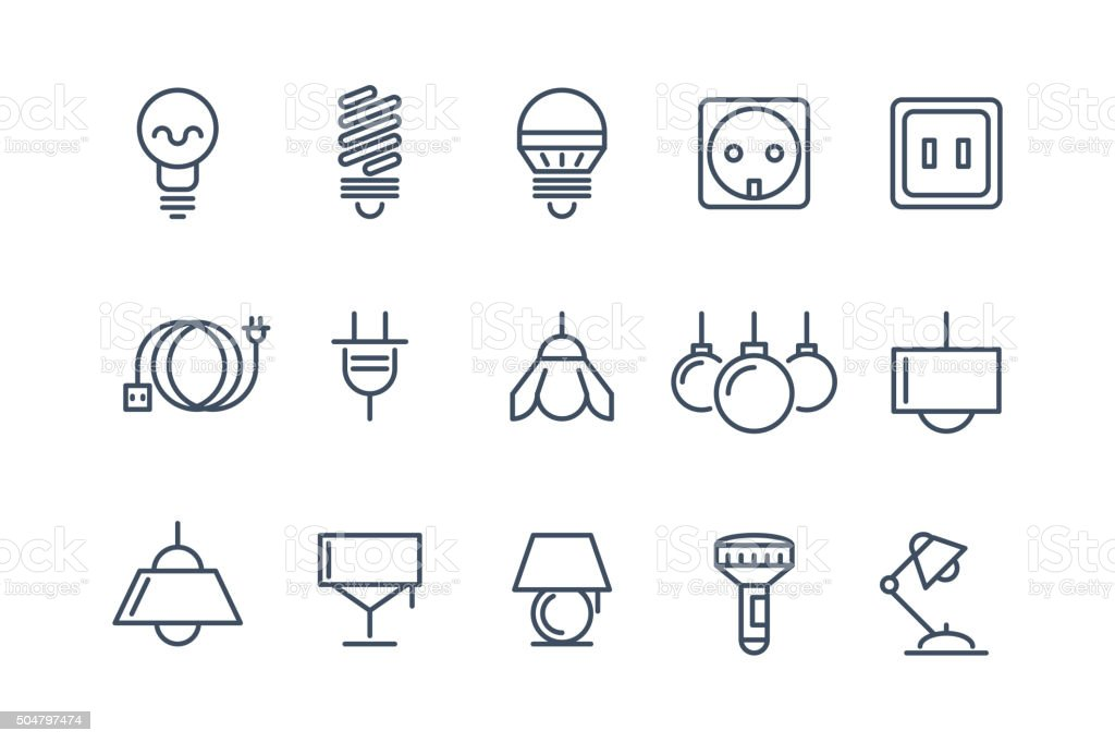 Lamp And Bulbs Line Vector Icons Set Electrical Symbols