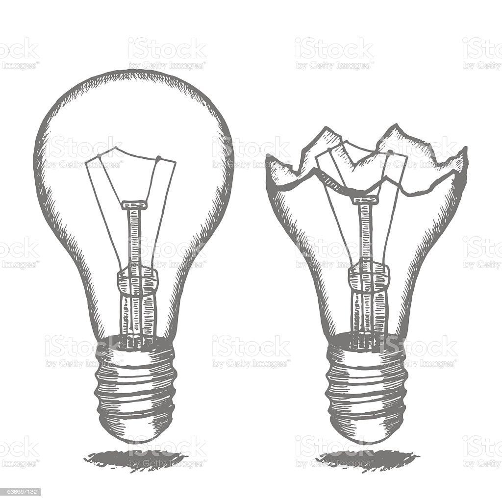 Lamp Bulb Hand Draw Sketch Vector Stock Illustration