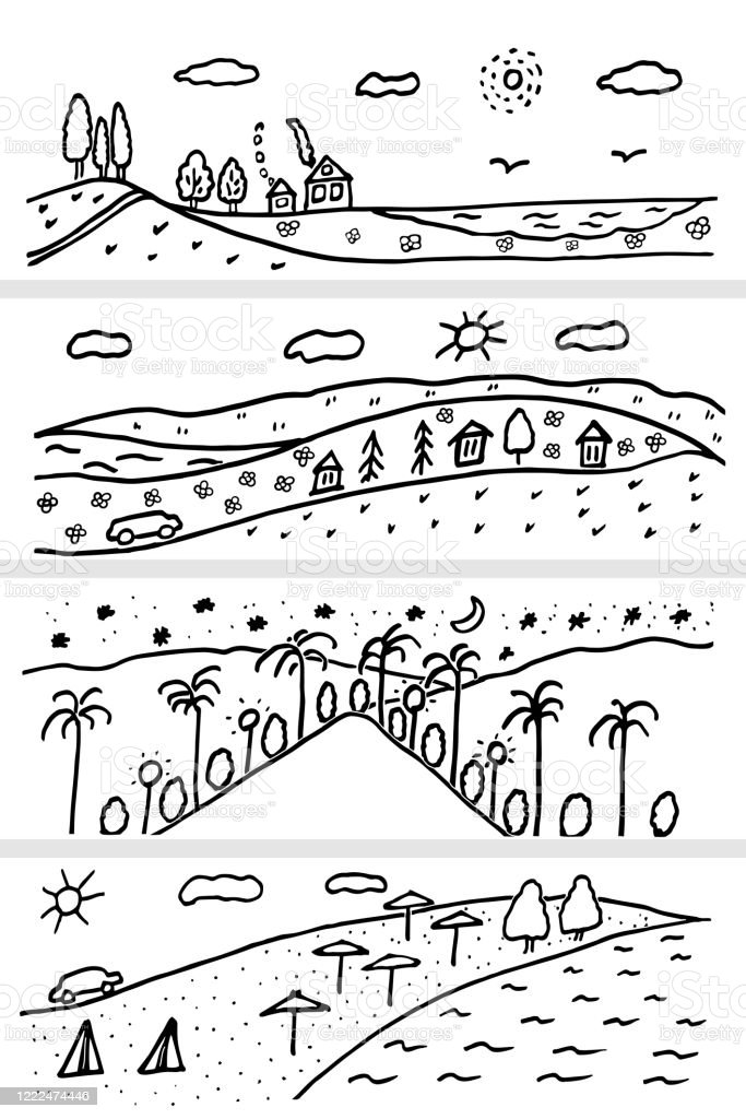Rolling Hills Drawing : rolling, hills, drawing, Landscape, Nature, Urban, Beach, Rolling, Hills, Vector, Illustration, Doodle, Black, White, Drawn, Horizontal, Stock, Download, Image, IStock
