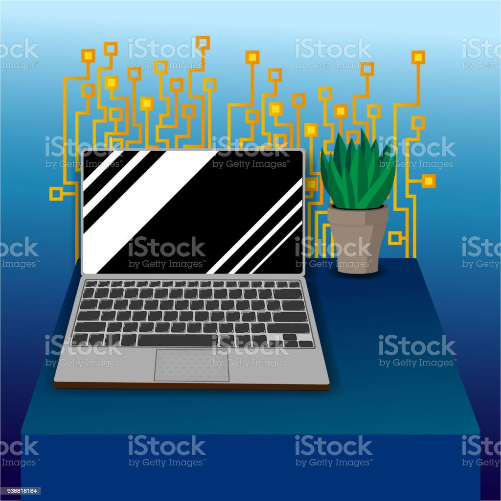 hight resolution of laptop on table with circuit board pattern royalty free laptop on table with circuit board