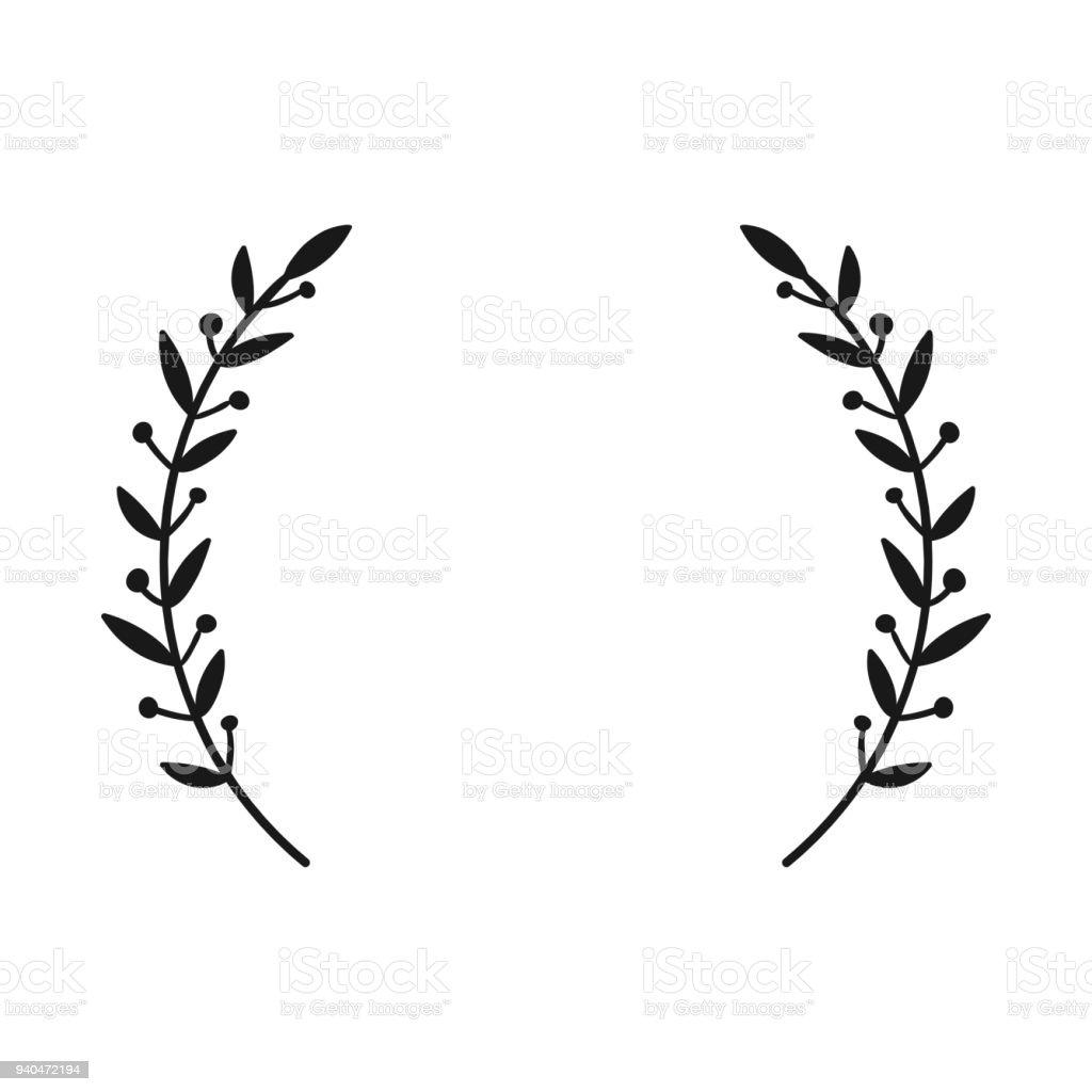 Laurel Wreath Hand Drawn Vector Round Frame For