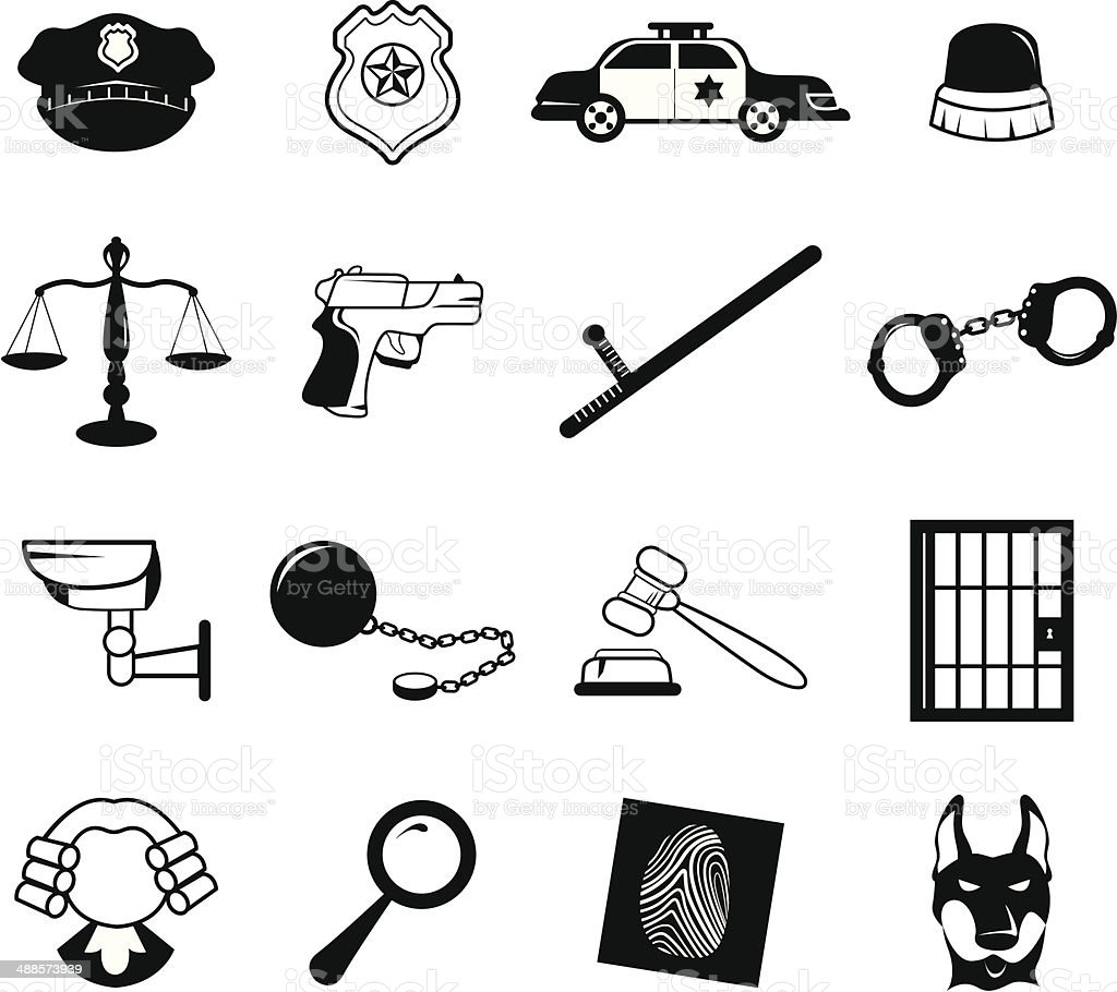 Law Enforcement Icons Stock Vector Art & More Images of