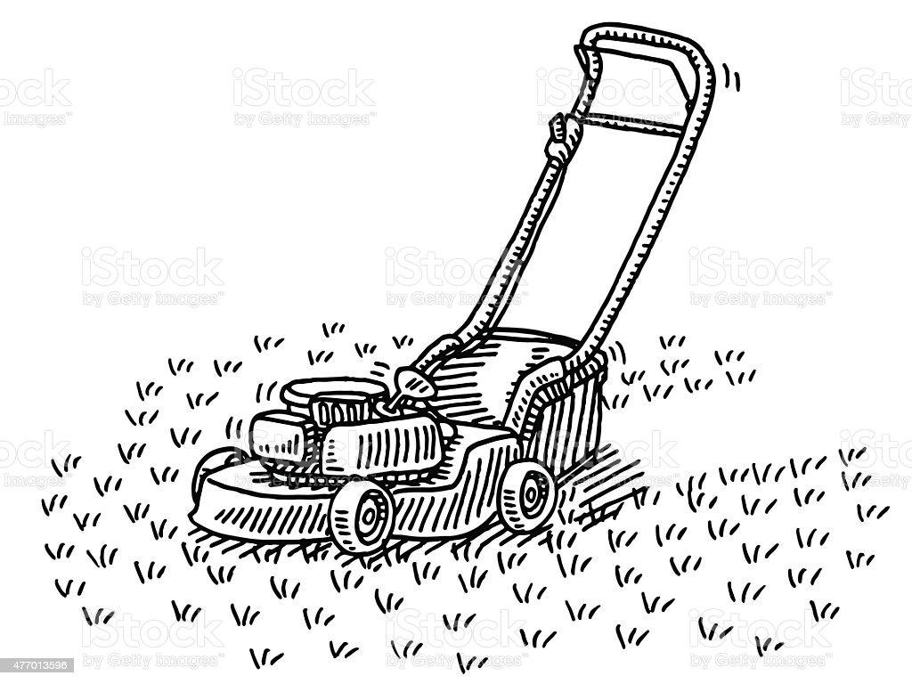 Lawn Mower Gardening Drawing Stock Vector Art & More