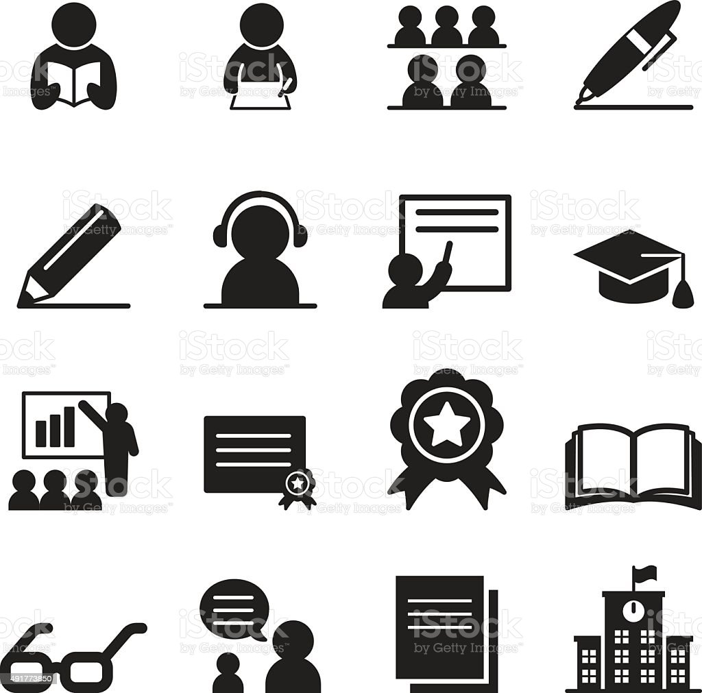 Learning Icon Set Stock Vector Art & More Images of 2015