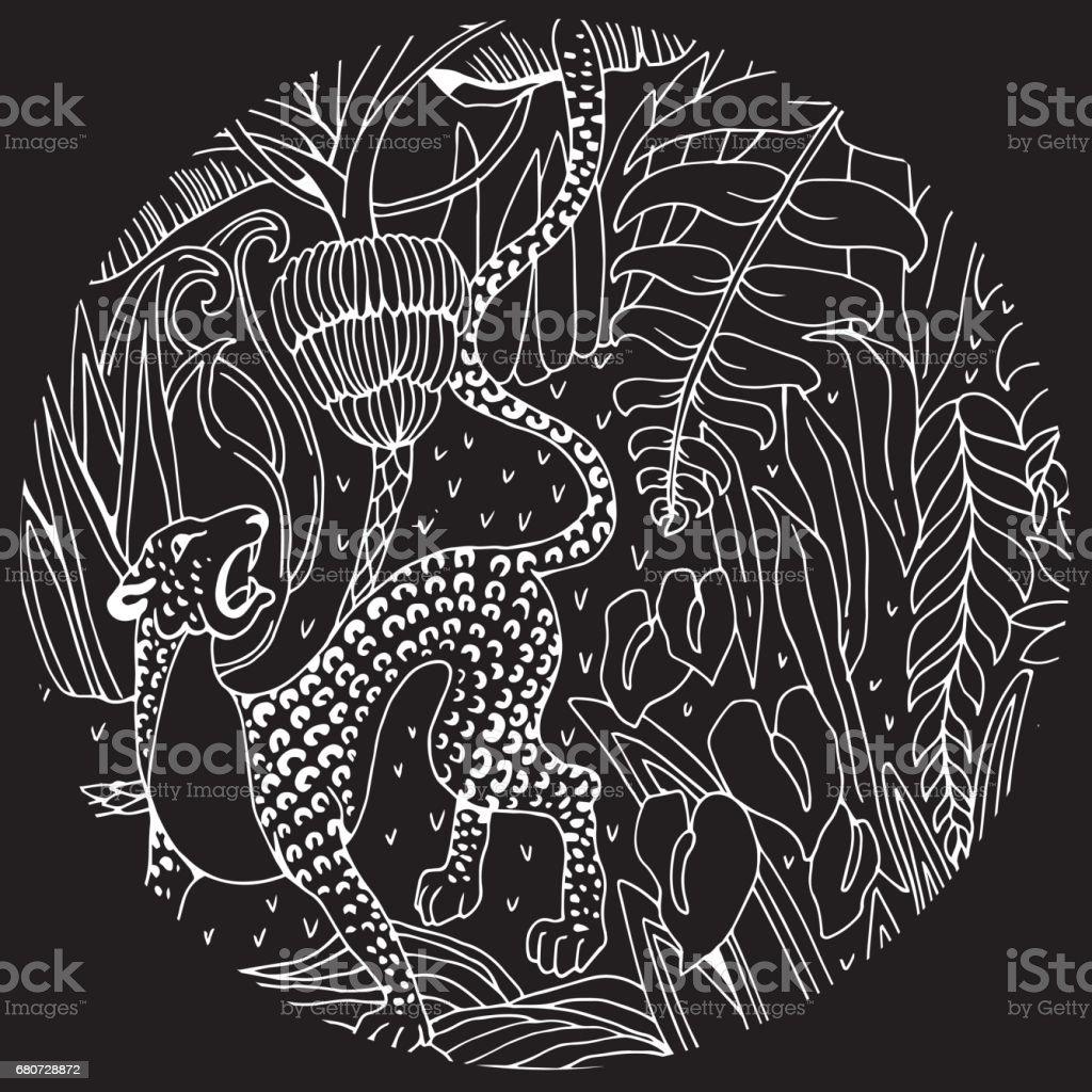 Leopard Im Dschungel Malvorlagen Exotische Blumen Und