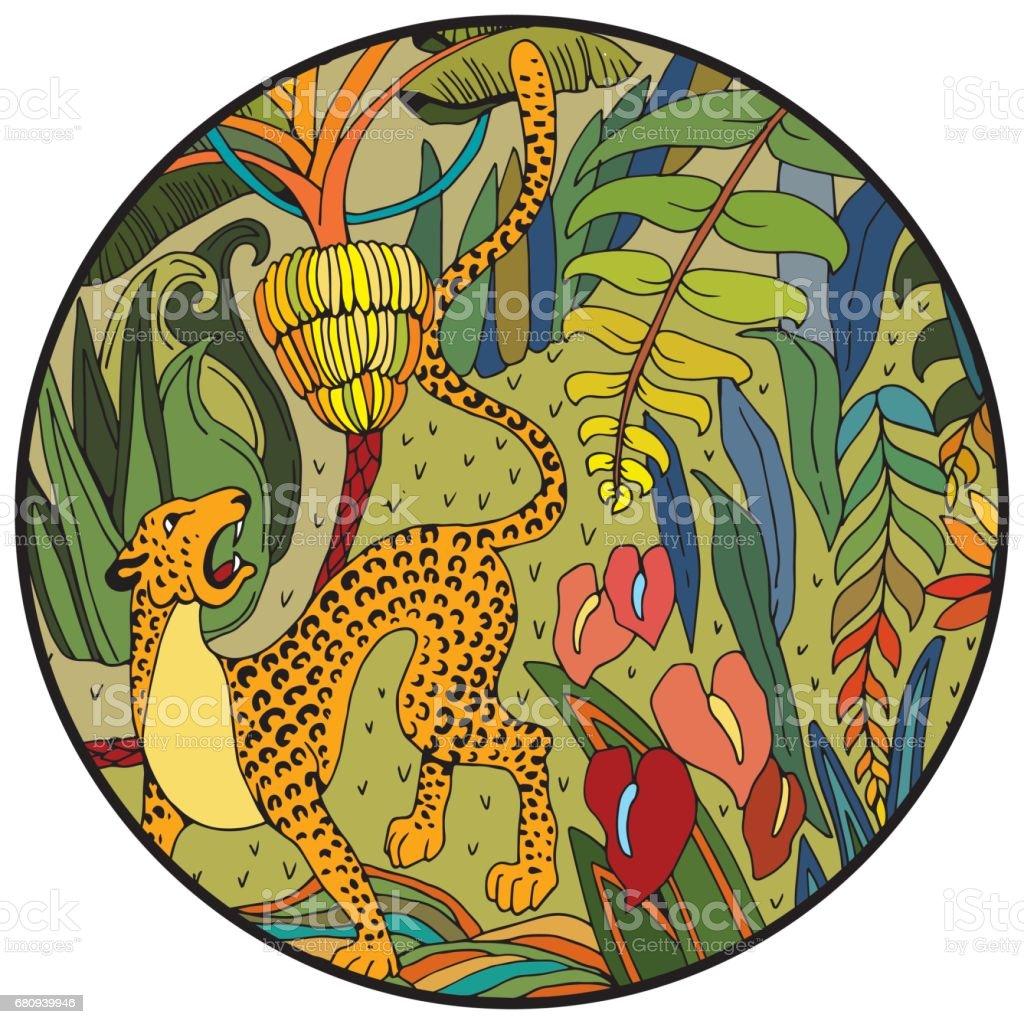 Malvorlage Dschungel Blatt