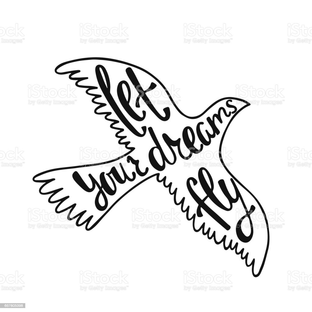 Let Your Dreams Fly Inspirational Quote Stock Illustration