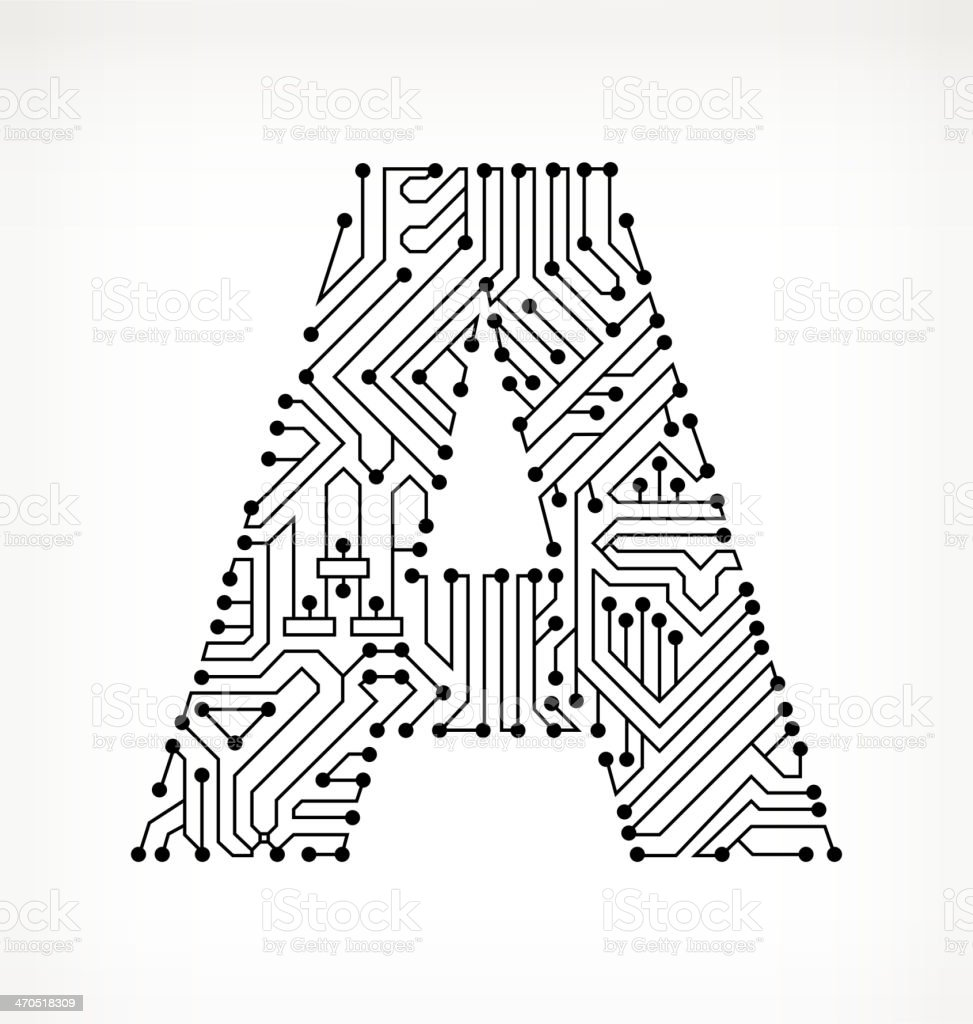 Letter A Circuit Board On White Background Stock Vector