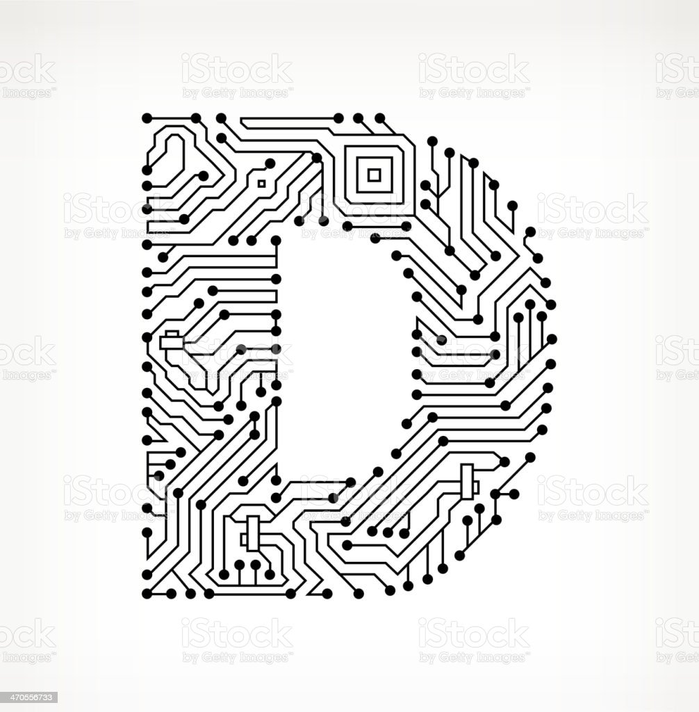 Letter D Circuit Board On White Background Stock Vector