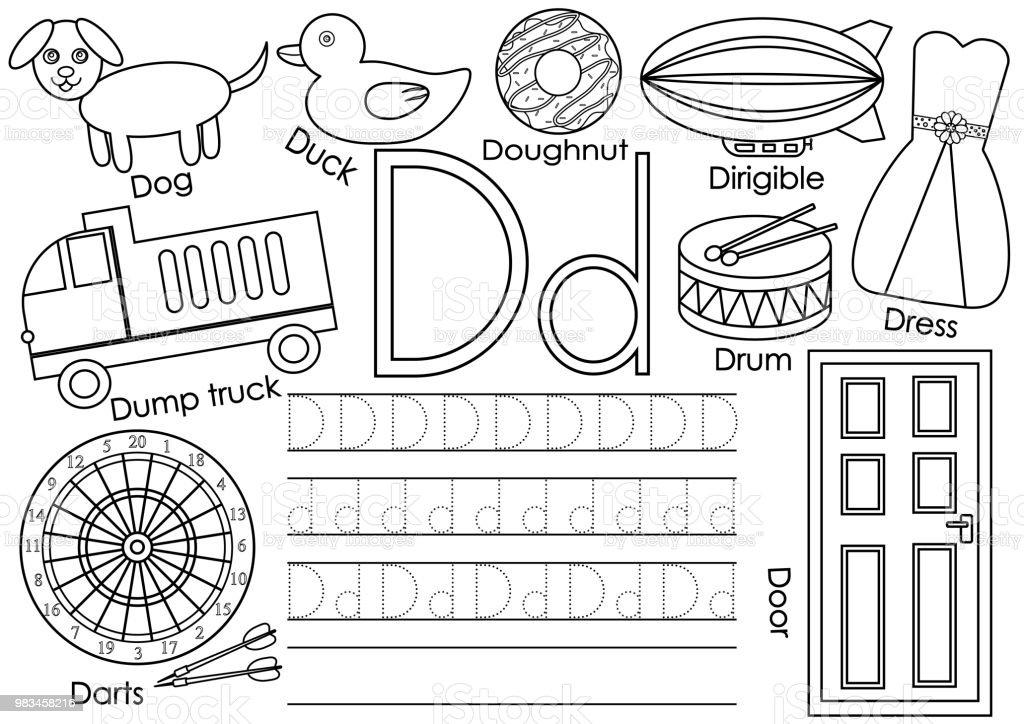 Ilustración de Letra D Alfabeto Inglés De Aprendizaje Y