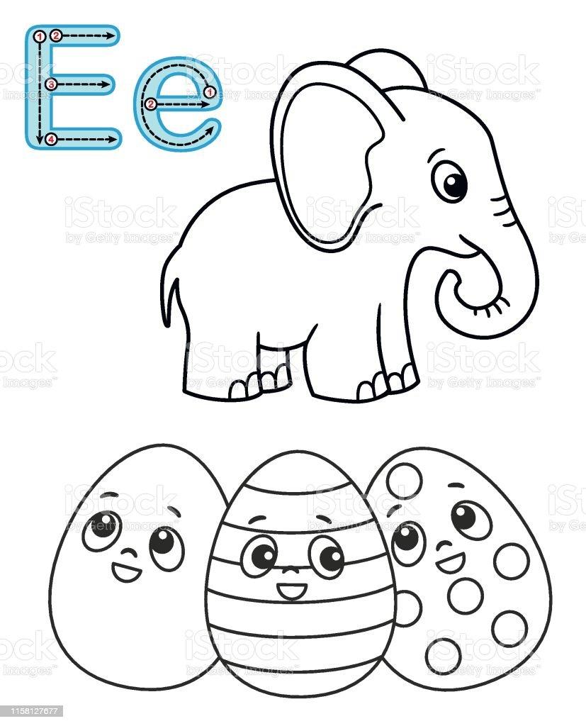 Letter E Elephant Easter Egg Vector Coloring Book Alphabet