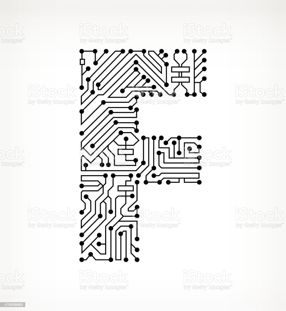 Letter F Circuit Board On White Background Stock Vector