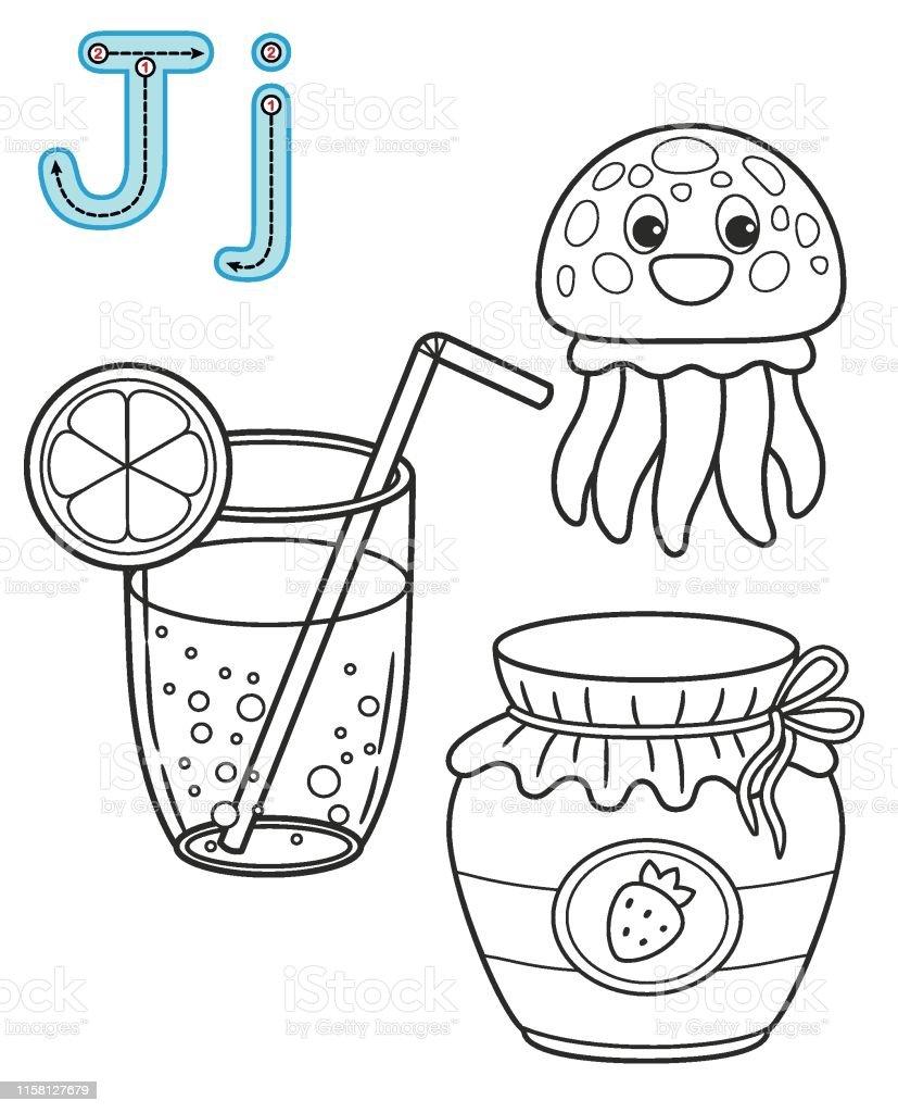Letter J Juice Jellyfish Jam Vector Coloring Book Alphabet