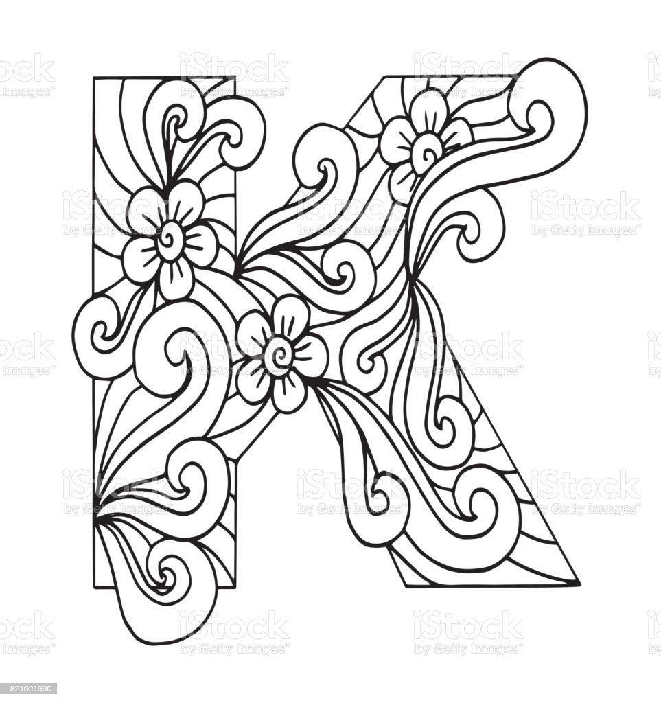 Letter K For Coloring Vector Decorative Object