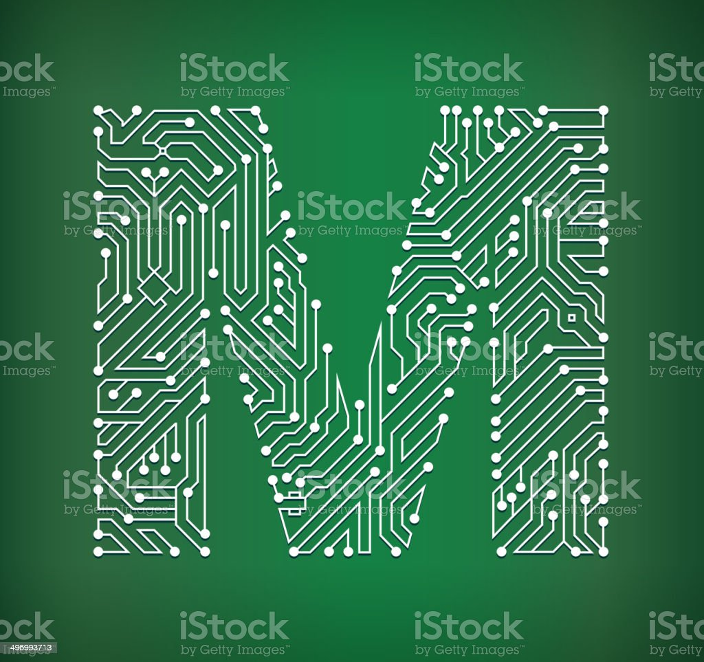 Circuit Board Letters Illustration