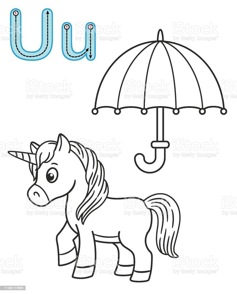 Letter U Unicorn Umbrella Vector Coloring Book Alphabet
