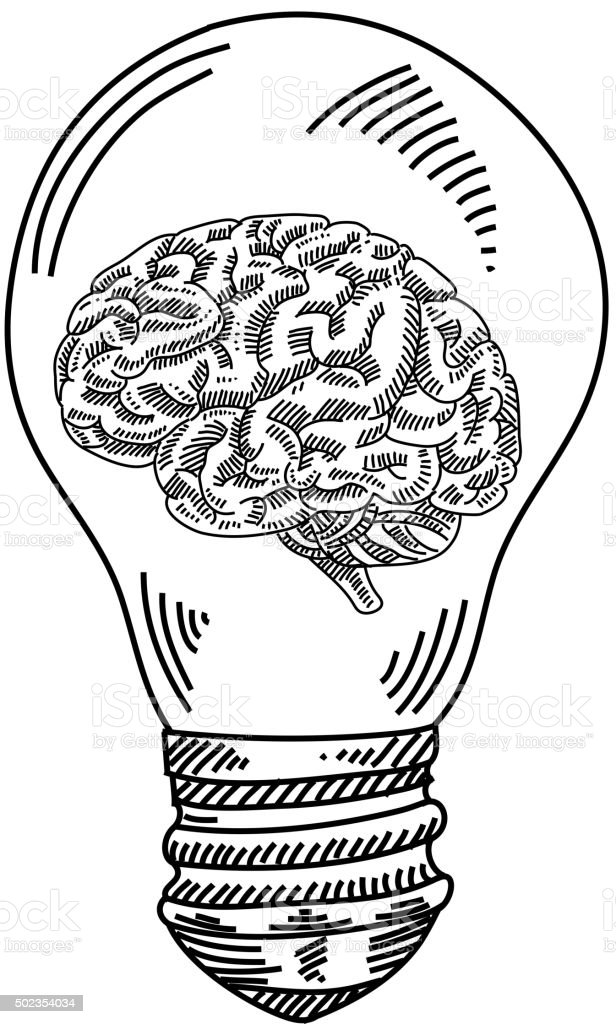 Light Bulb With Human Brain Drawing Stock Vector Art