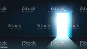shining door dark open mystical abstract background template mock