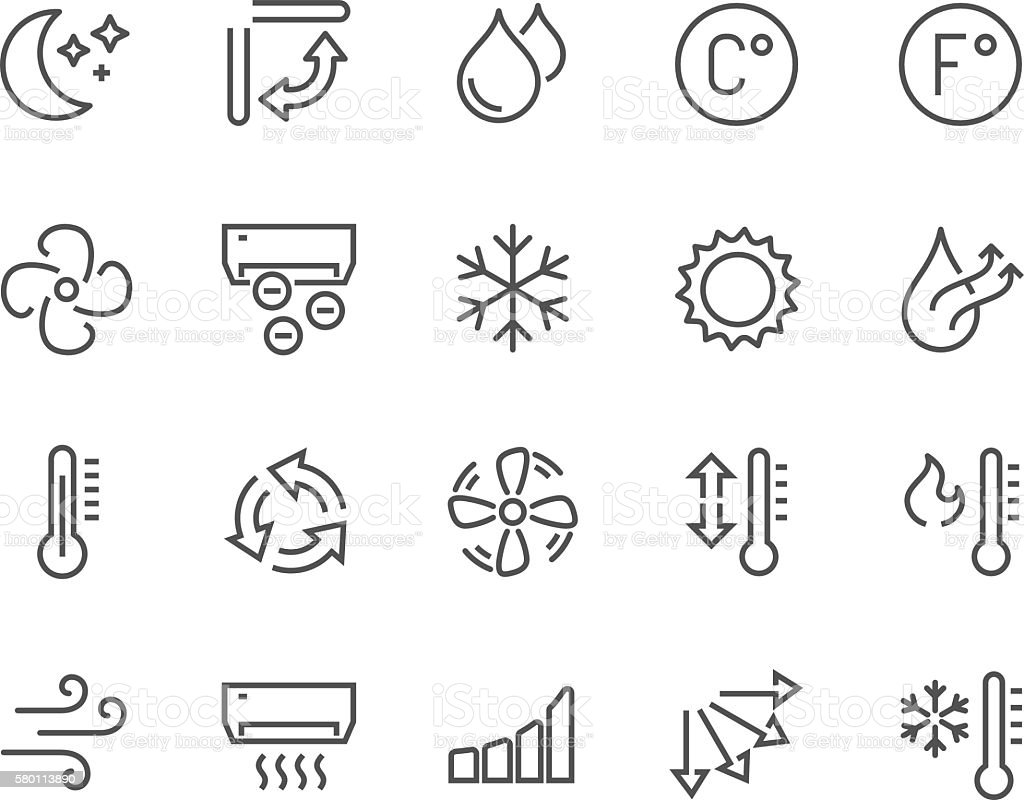 Line Air Conditioning Icons Stock Vector Art & More Images