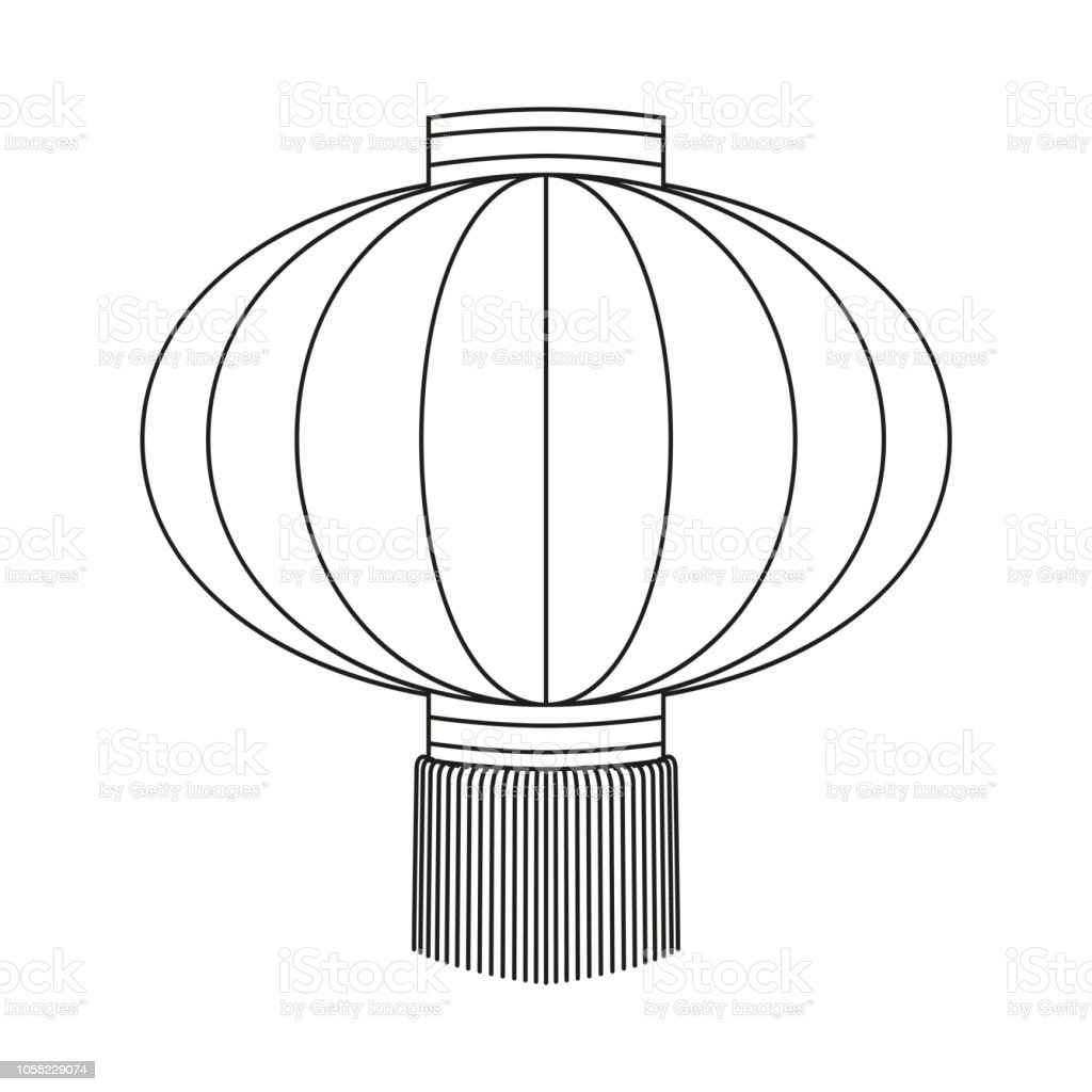 Line Art Black And White Chinese Paper Lantern Stock