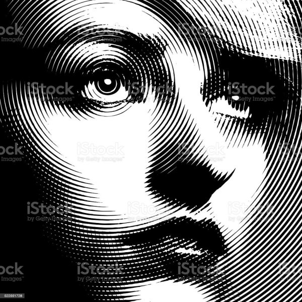 Line Art Close Of Womans Face Stock Vector & 30-39 Years - Istock
