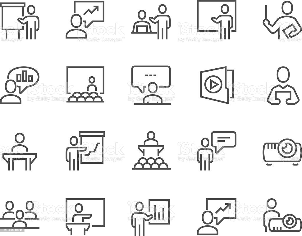 Line Business Presentation Icons Stock Vector Art & More