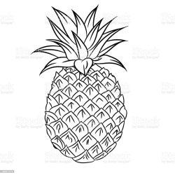 Line Art Simple Pineapple Outline