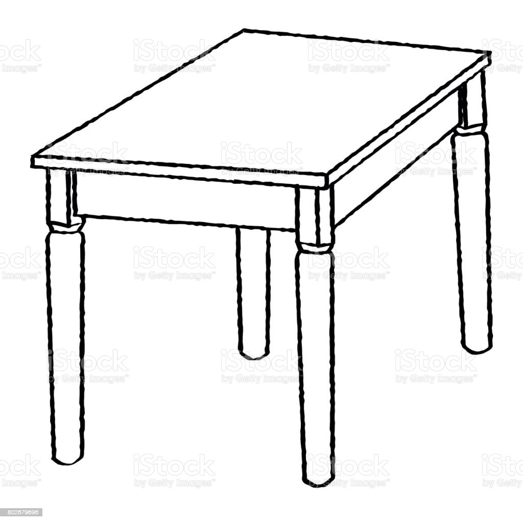 Line Drawing Of Table Simple Line Vector Stock Vector Art