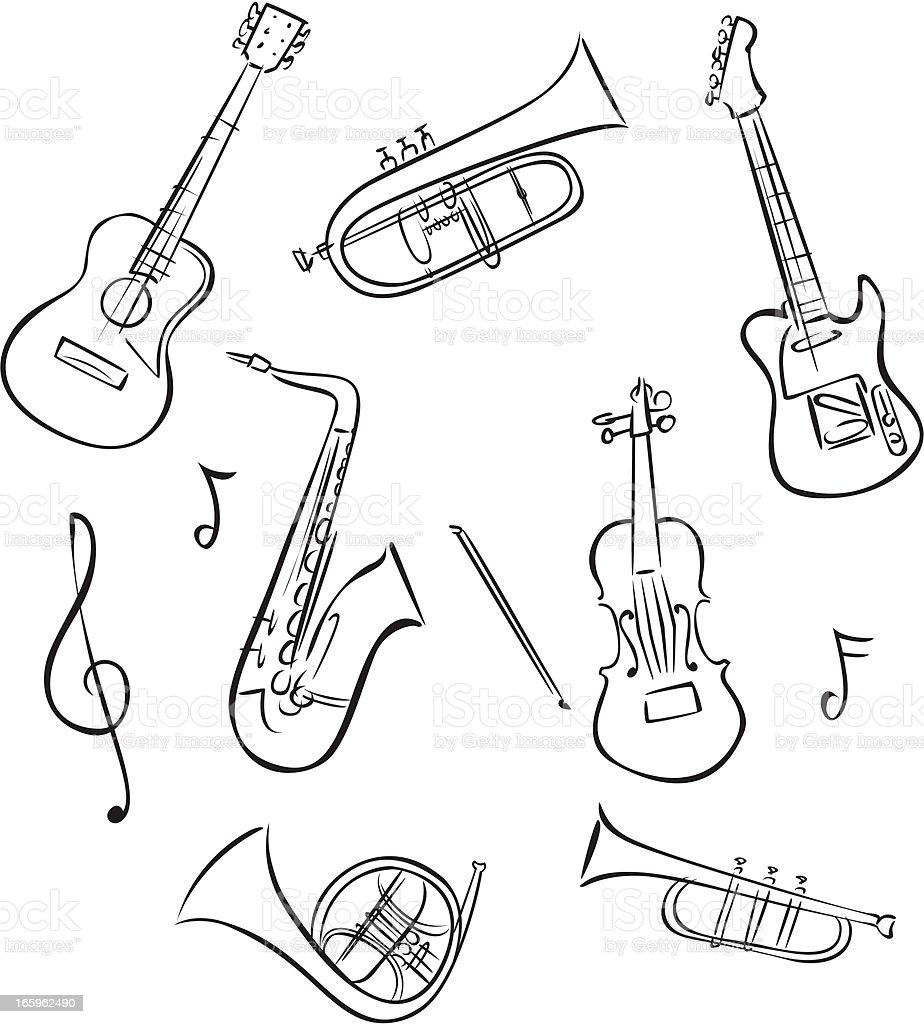 Line Drawings Of Musical Instruments Stock Illustration
