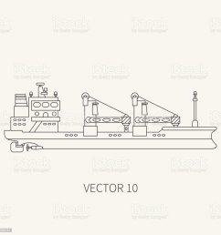 line flat vector retro icon container cargo ship merchant fleet cartoon vintage style  [ 1024 x 1024 Pixel ]