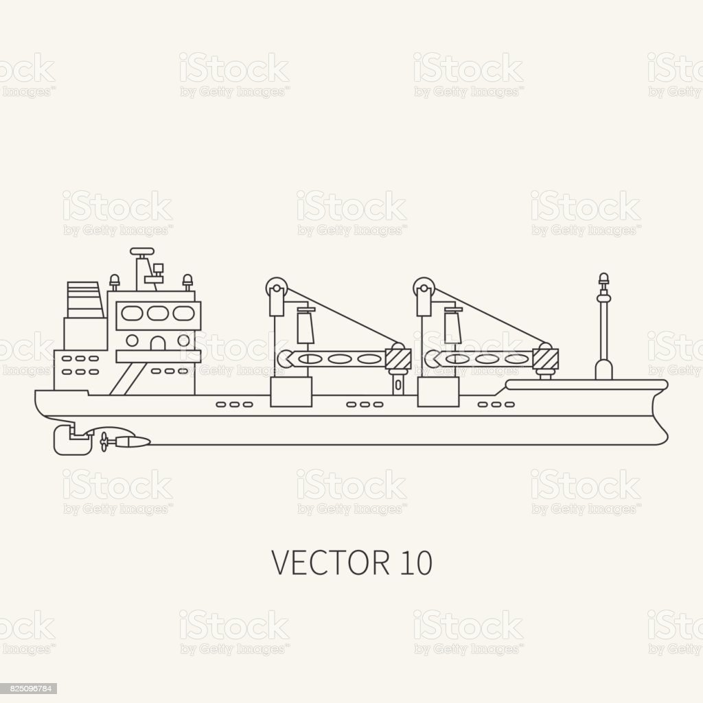 hight resolution of line flat vector retro icon container cargo ship merchant fleet cartoon vintage style