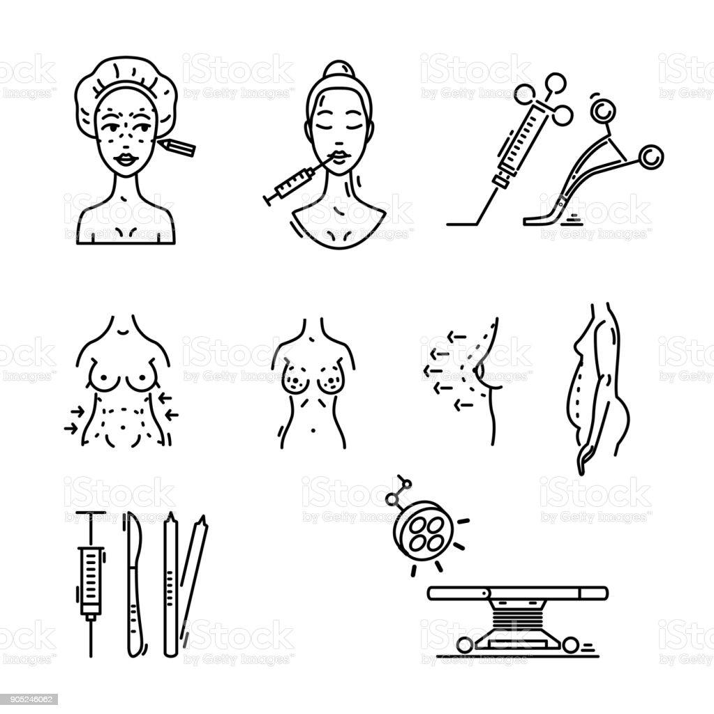 Line Icons Plastic Surgery Aesthetic Medicine Cosmetic